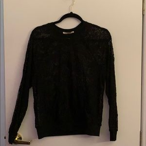 Black Flower Mesh Sweatshirt
